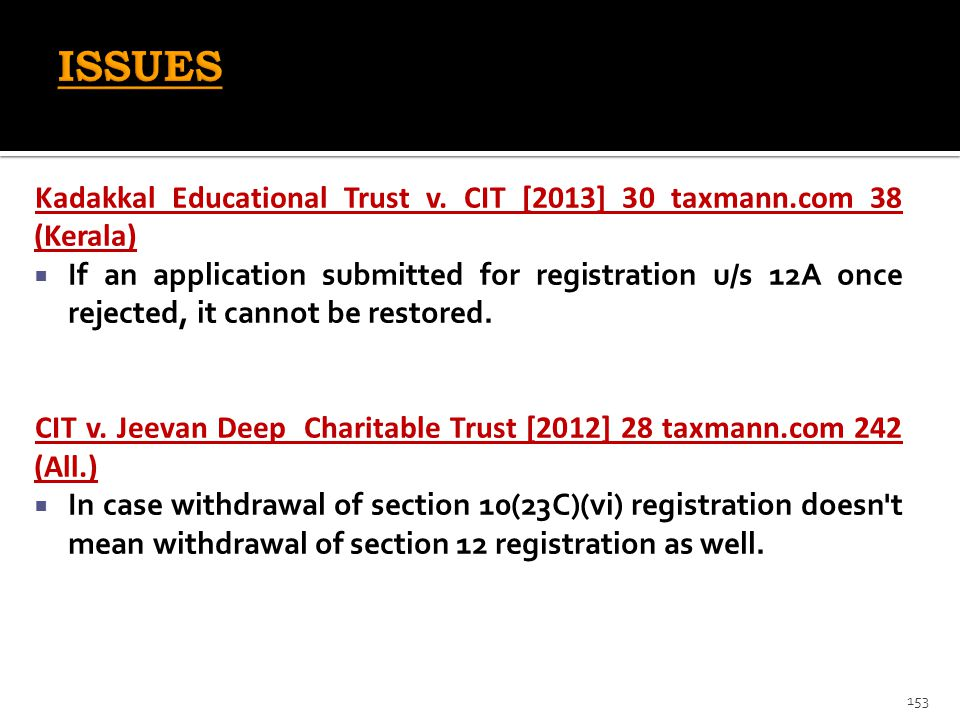 ISSUES Kadakkal Educational Trust v. CIT [2013] 30 taxmann.com 38 (Kerala)